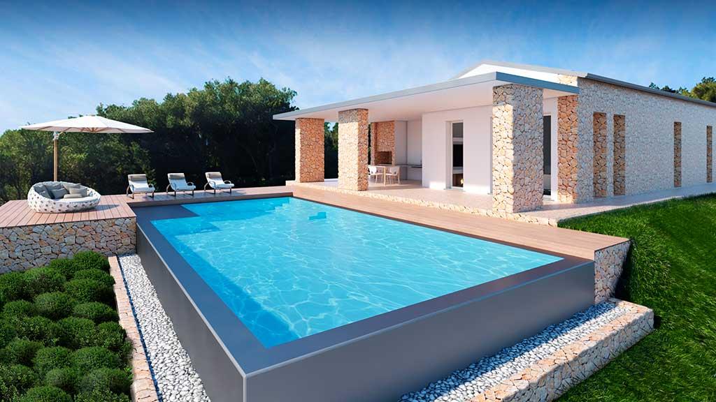 Render di una Villa in Sardegna vista mare